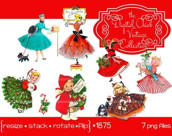 Digital Clipart, instant download, Vintage Christmas Card Images, girls, child woman, puppy dog, Christmas dresses--Printable PNG Files 1875