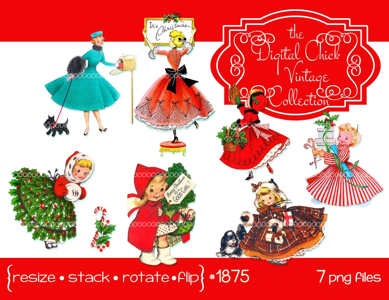 Digital Clipart Instant Download Vintage Christmas Card Etsy