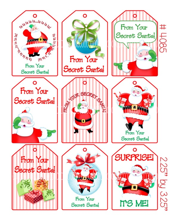 Digital Clipart Instant Download Secret Santa Christmas Tags Gift Tags Santa Claus Merry Christmas 8 5 By 11 Digital Collage Sheet 4085