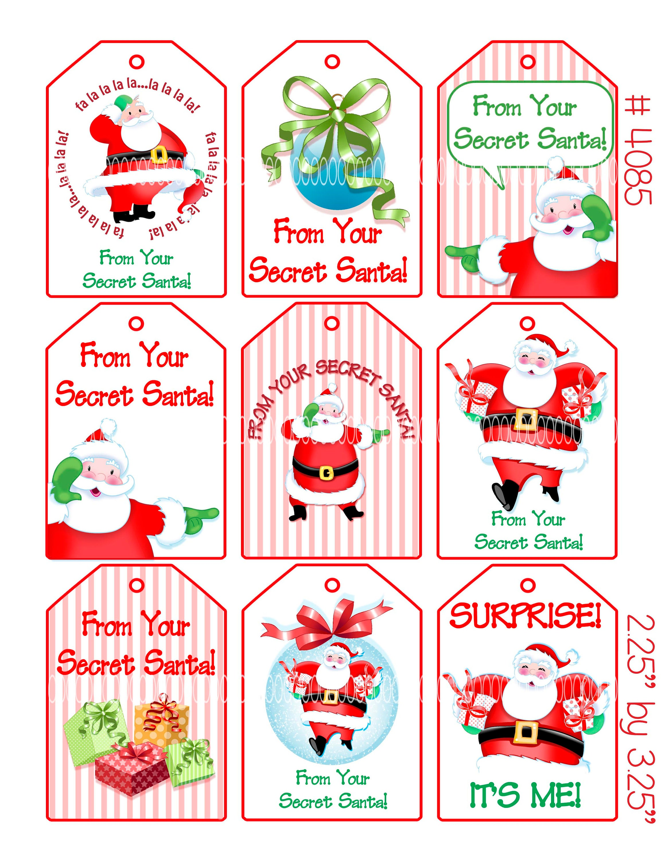 This is a picture of Sizzling Secret Santa Tags Printable