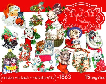 Christmas Clipart, Santa Clipart,  Vintage kitten kitty cat cats, Christmas stocking sled--Printable PNG Files 1863