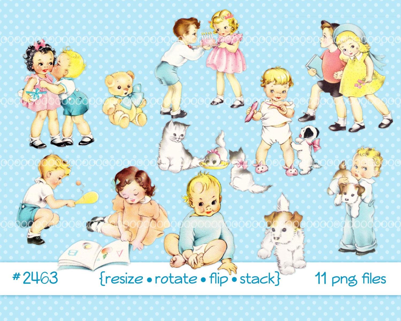 Digital Clipart instant download Vintage children baby | Etsy