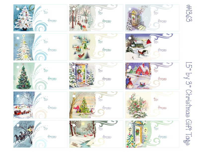 Digital clipart printable Christmas gift tags snowy scene instant download digital collage sheet 8.5 by 11   1363 Christmas trees
