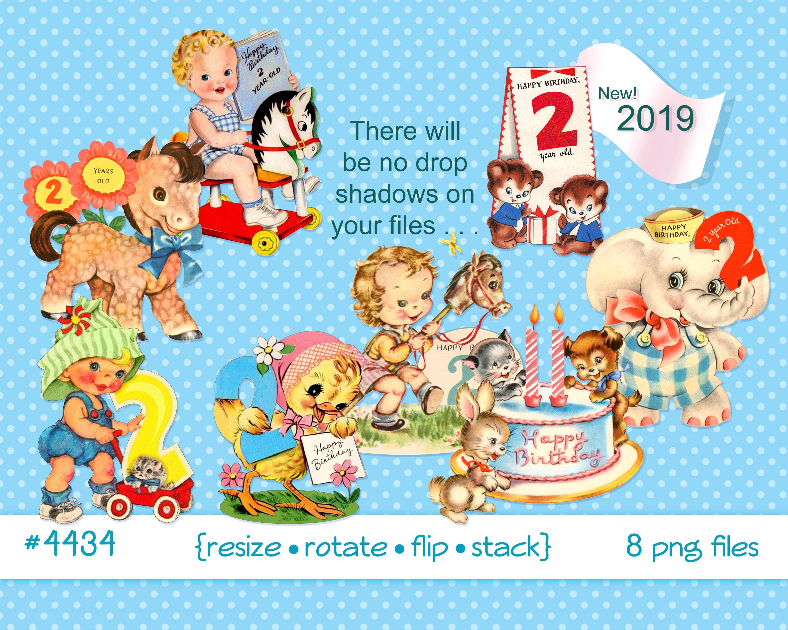 Vintage Childrens Birthday Clipart 2 Year Old Little