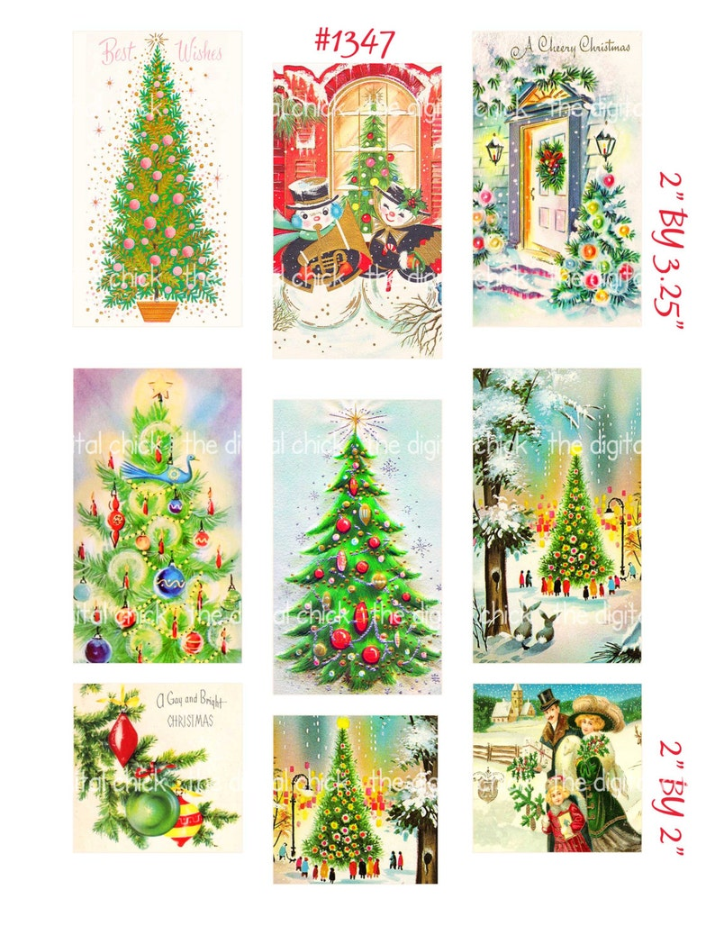 Digital Clipart Instant Download Vintage Christmas Trees Etsy