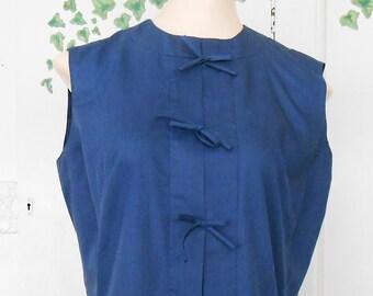 Vintage, Shift Dress, 1960s, Mod Dress, Navy Blue, Bow Tie, Size 12, Medium, Mod Shift Dress, Aline Dress, 60s mod Dress, Blue Dress, Sleeve
