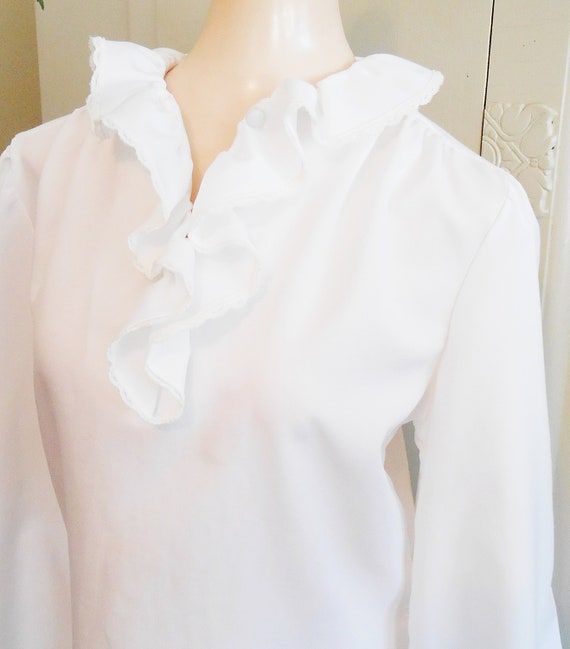 Vintage, Blouse, Ruffled, White Blouse, Holiday, 1