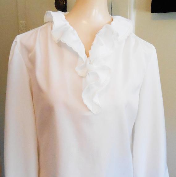 Vintage, Blouse, Ruffled, White Blouse, Holiday, … - image 3