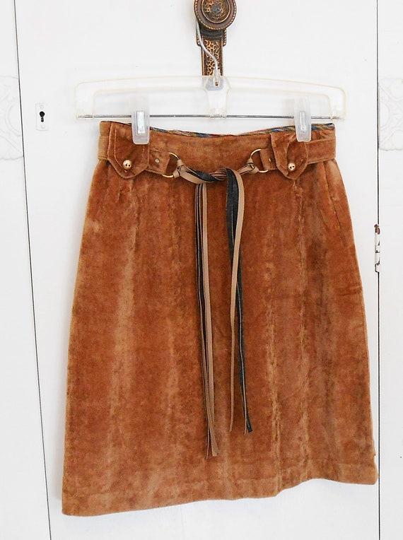 Vintage, Skirt, Mod, 1960s, Faux Suede, Mini Skirt