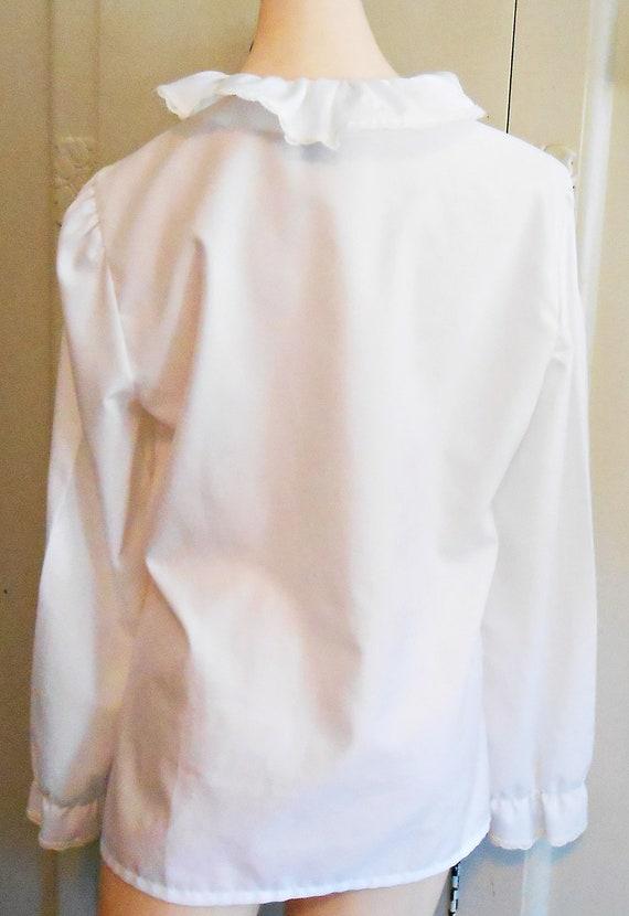 Vintage, Blouse, Ruffled, White Blouse, Holiday, … - image 9