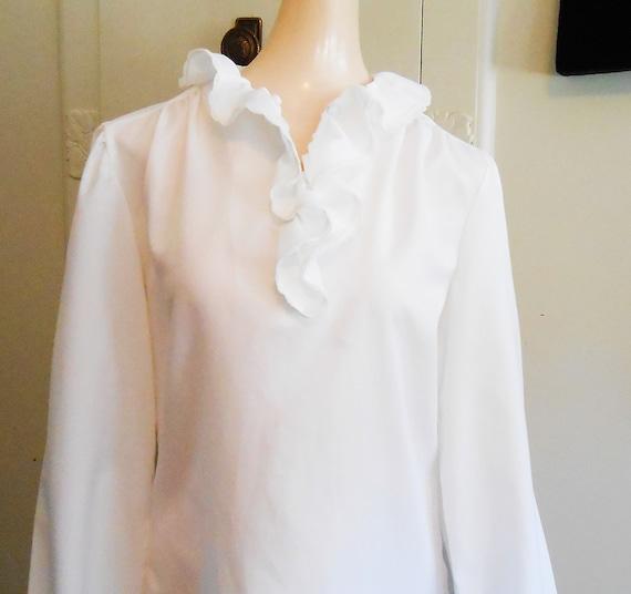 Vintage, Blouse, Ruffled, White Blouse, Holiday, … - image 5