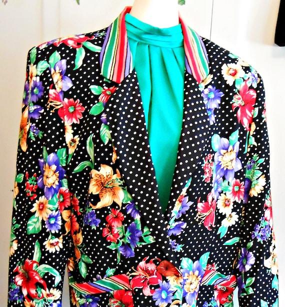 Vintage, 1980s, Floral Blazer, Bright Colors, 80s