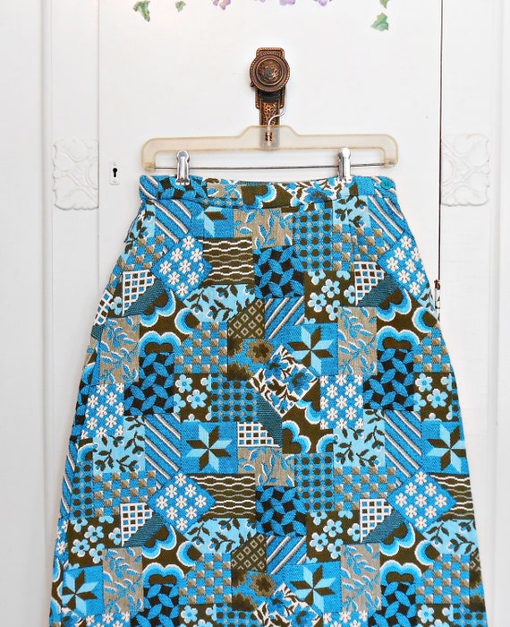 Vintage, Maxi Skirt, Tapestry, Patchwork, Cotton,