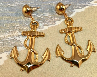 Vintage Gold Anchor Dangle Post Earrings, 2 inches long 1 inch wide, Anchors Away Boating Post Earrings, Previously 20 Dollars ON SALE