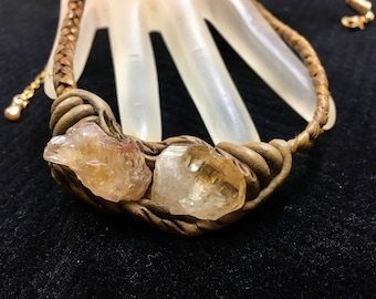"Vintage Quartz Crystal Necklace on Braided Cord Adjustable from 19.25"" to 22""  Long Pendant is 2.25"" by .75"" Previously 25 Dollars ON SALE"