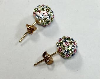 "Vintage 10kt Gold Crystal Earrings Silver and Gold Earrings 10kt Gold Crystal Ball Stud Earrings .25""  (sh) Previously 125 Dollars ON SALE"