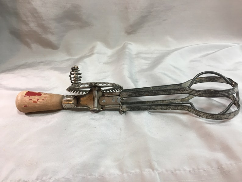 Vintage Ekco Hand Mixer with Chippy Red Wood Handle Egg Beater Rotary Beater Farmhouse Decor Shabby Chic Made in USA