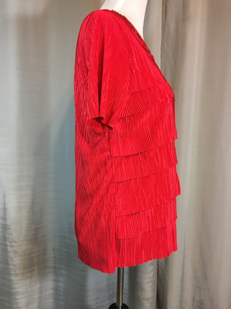 Vintage Bright Red Blouse with Red and Brown Wood and Metal Beads Shell is Fully Lined by Alfred Dunner Ladies Small