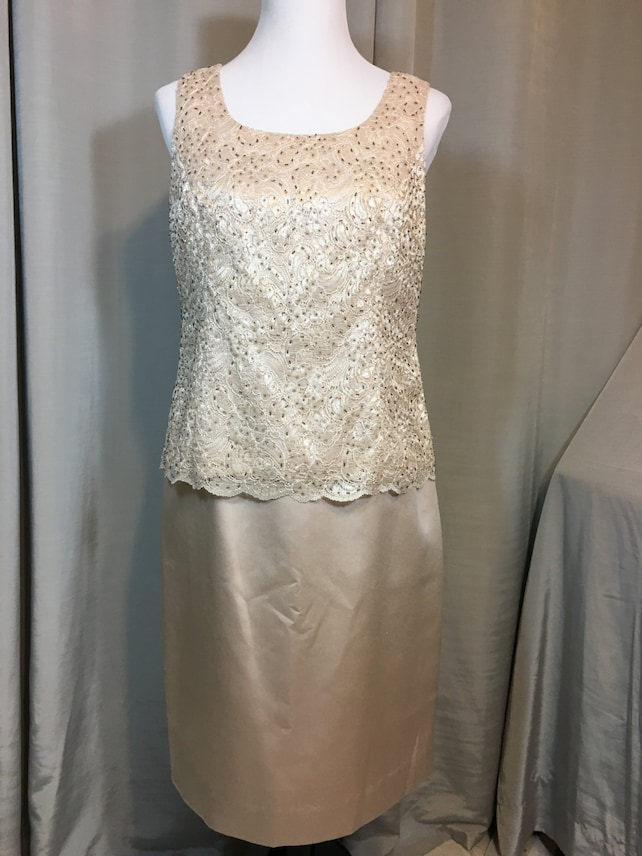 Beige Two Piece Suit by Karen Miller, Lined, Sequin Hand Beaded Top, Mother of the Bride Dress, Ladies Size 12 Previously 35 Dollars ON SALE