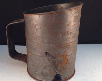 """Vintage Bromwell's Measuring Sifter Three Cups with Rustic Patina 5.75"""" Tall Diameter of 4 & 3/8"""" Previously Eighteen Dollars ON SALE"""