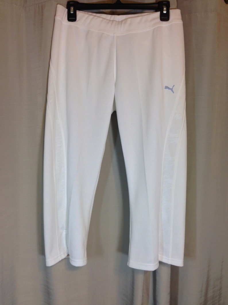 White Knit Capri Sweat Pants by Puma Ladies Small Previously 24 Dollars ON SALE