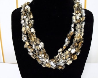 Brown and White Crochet Ribbon Necklace Adjustable in Three Sizes Previously Eighteen Dollars CLOSEOUT SALE
