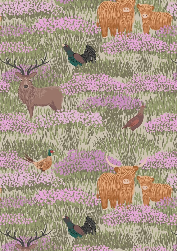 Cotton Fabric Lewis and Irene Scottish Highlands with Dogs in the Glen