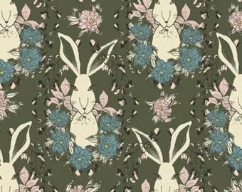 Forest Floor Rabbit in Green Bonnie Christine Art Gallery Fabrics Fat Quarter FQ
