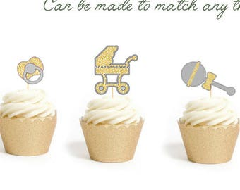 12 Gold Gender Neutral Baby Shower Cupcake topper, Pacifier, Rattle, Onesie, Baby Carriage