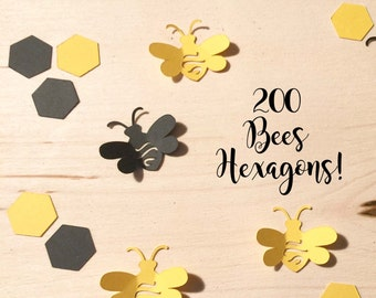 200 Black & Yellow or Gray Yellow or Kraft - Bee Confetti - Cut outs - Color Options Hexagon confetti  Meant to bee theme bride mommy