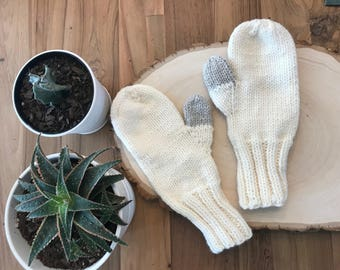 Beige Cream Christmas Mittens - Silver Thumb Handmade gift  - stocking stuffer Ready to ship - Fast shipping