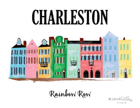 Charleston Rainbow Row Print Artwork Painting Wall Art Etsy