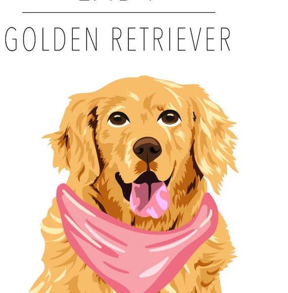 Dog Portrait Golden Retriever Pet Portrait Clip Art Etsy