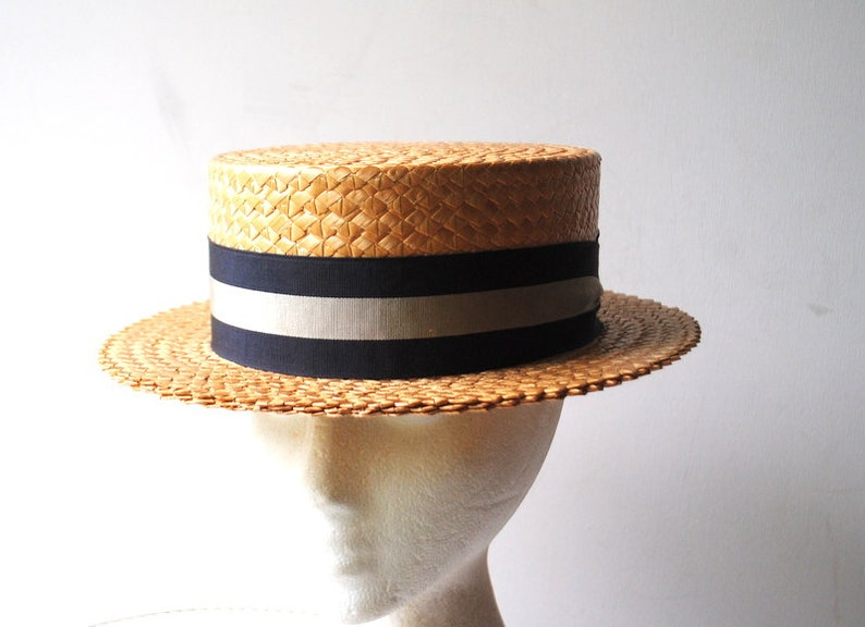6301e45775ba3 Hipster vintage 50s genuine straw boater hat with a black