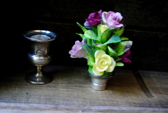 candle holder. Genuine Coalport porcelain roses bouquet with a Gorham  sterling silver 434 mini vase Victorian style vintage 50s