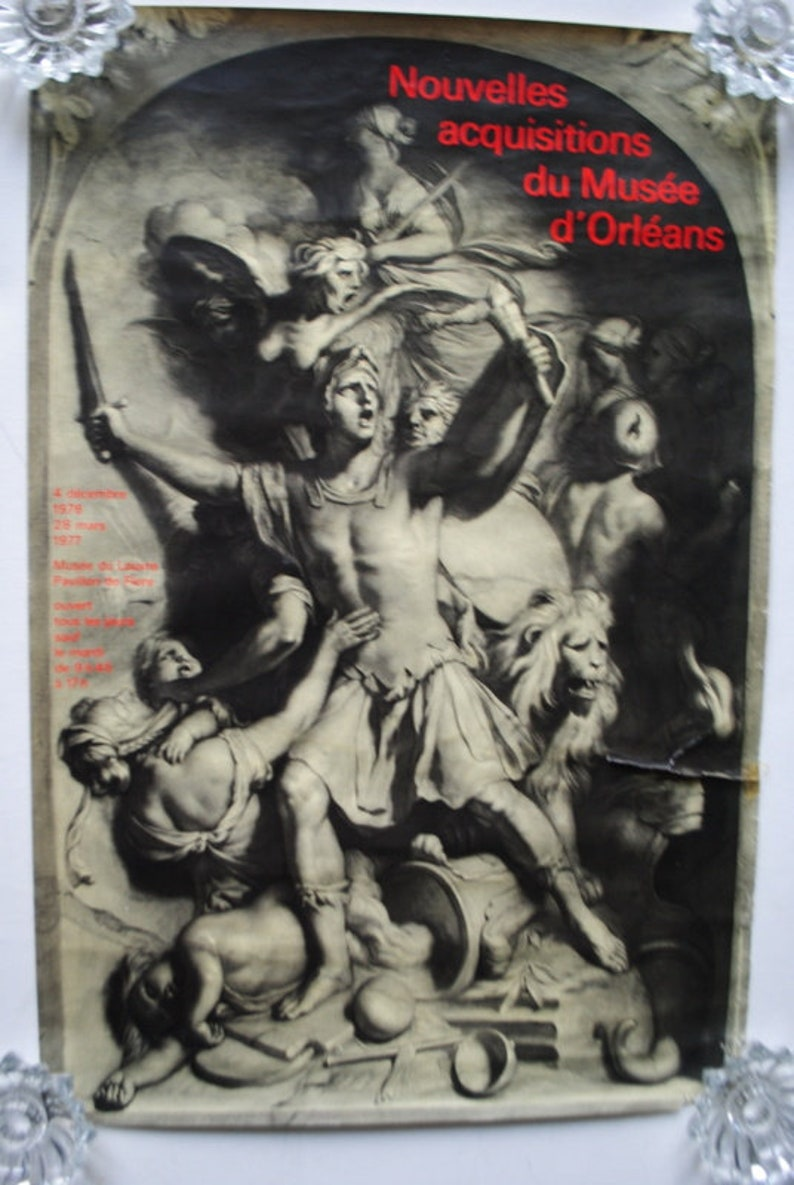 exhibition poster of the  Louvre Museum  New Acquisitions of the Museum of Orleans. Rare  vintage 70s original lithograph