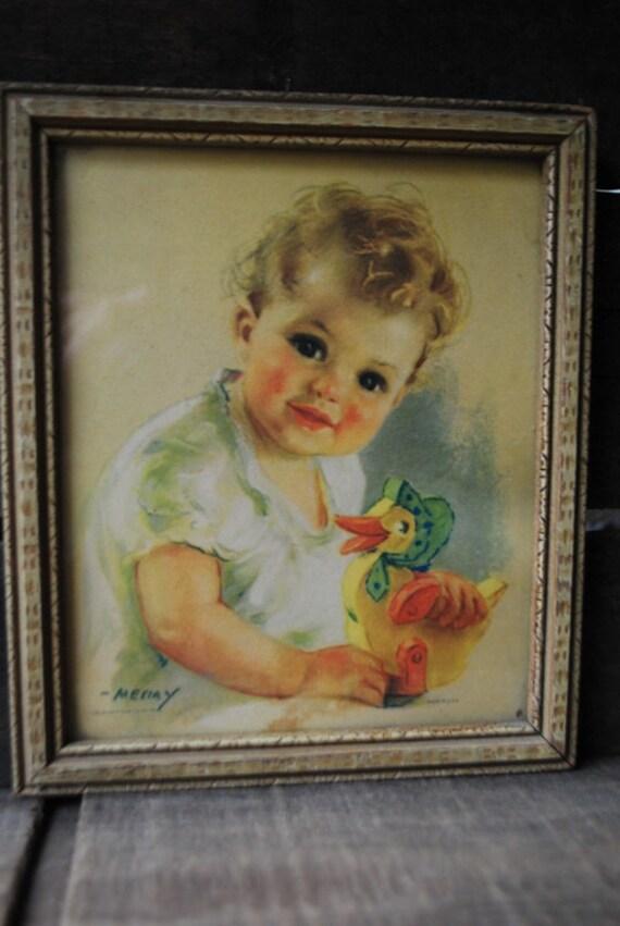 Adorable Vintage 1930s Original Framed Art Print By Meeiya Etsy
