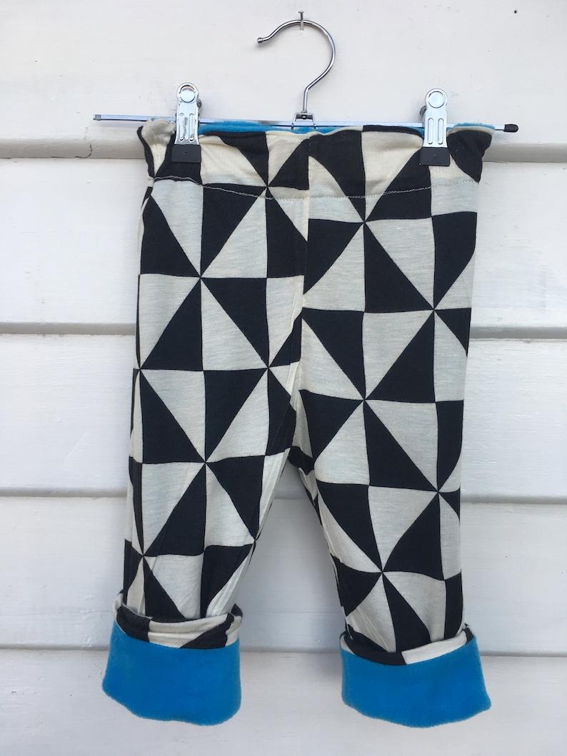 Aqua blue reversible fleece pants 12-18 months