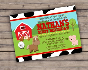 Red Yellow Cow Farm Themed Birthday Baby Shower PRINTED invitation with envelopes - personalized custom 5x7