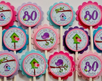 Pastel Spring Bird House Birthday or Shwoer Cupcake Toppers - Set of 12