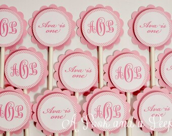 Pink Gingham Monogram Cupcake Toppers Birthday Party Baby Shower Baptism - Set of 12
