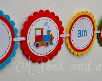 Bright Train Personalized High Chair Banner Birthday Decoration first 1st Birthday Party