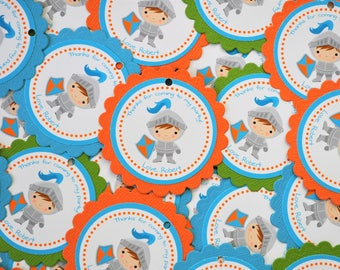 NEW Knight Favor Tags Stickers in Orange Blue and Green - Set of 12 - Birthday Party Baby Shower Decoration