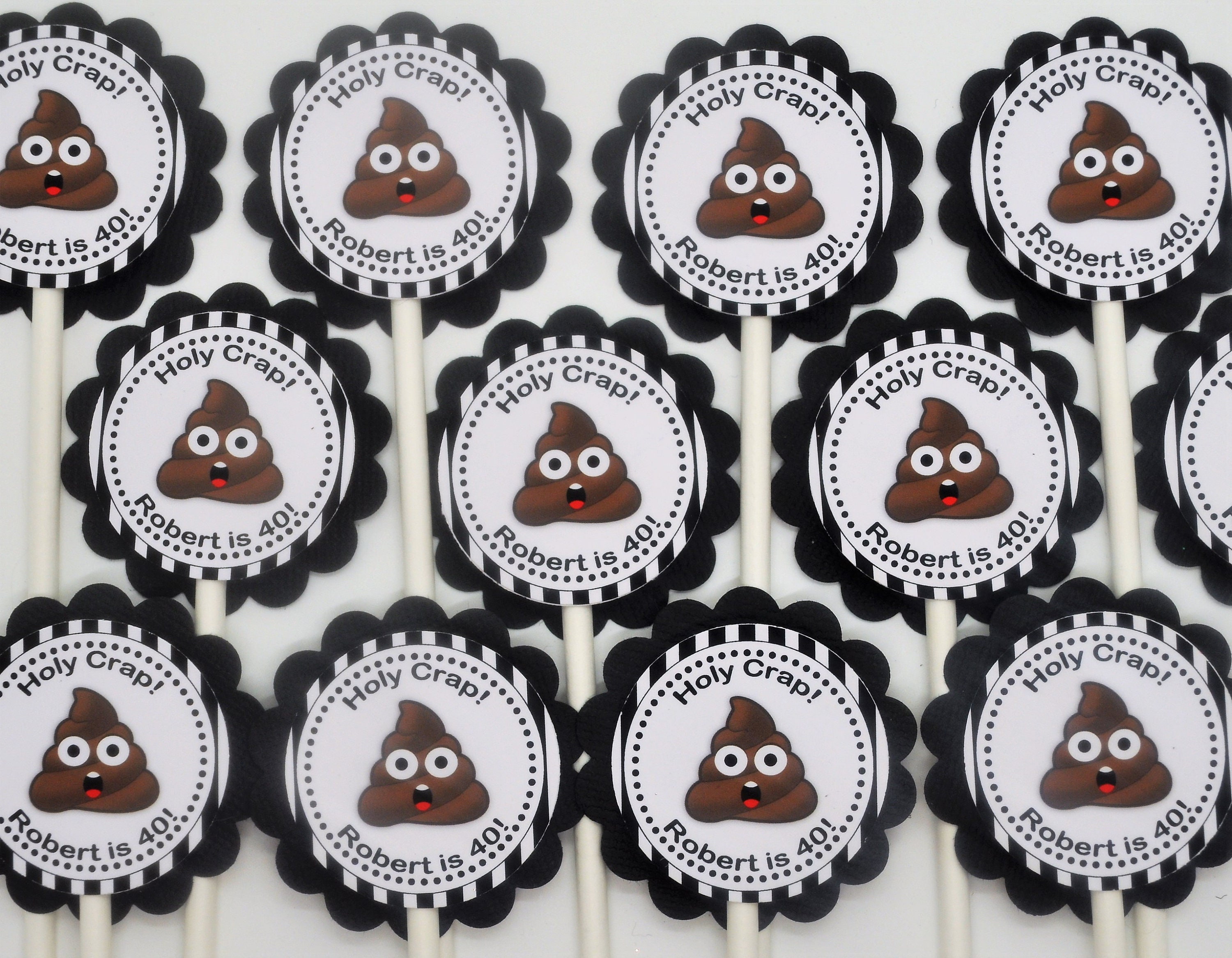 40th Birthday Emoji Holy Crap Cupcake Toppers Picks