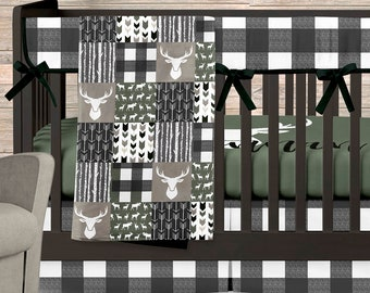 Brown Green Woodland Nursery Forest Crib Bedding Bear Baby Bedding Personalized Toddler Sheet Baby Boy Nursery Boy Crib Sheet