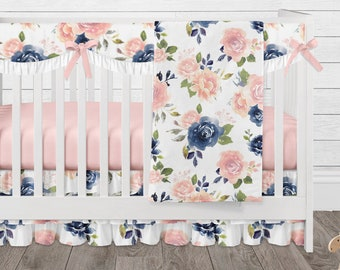 Baby Girl Crib Bedding Set, Floral Nursery, Navy and Blush Pink Flower Crib Skirt, Blanket, Rail Guard Cover and more