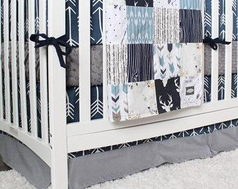 Baby Boy Woodland Nursery, Boy Crib Bedding Set, Navy Blue Arrow Bumper, Minky Crib Sheet, Arrow Crib Skirt, Deer, Buck and Arrow Quilt