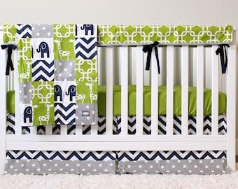 Boy Crib Bedding Set Baby Nursery Crib Set Navy Blue Polka Etsy