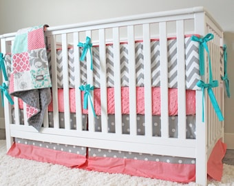 Coral Mint and Grey Crib Bedding Set, Coral Mint Grey Baby Girl Bedding, Mint Set