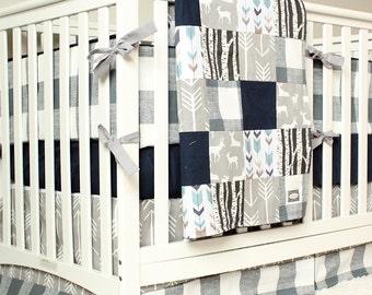 woodland nursery bedding set deer crib bedding navy blue gray arrow plaid baby boy crib bedding - Baby Boy Crib Bedding